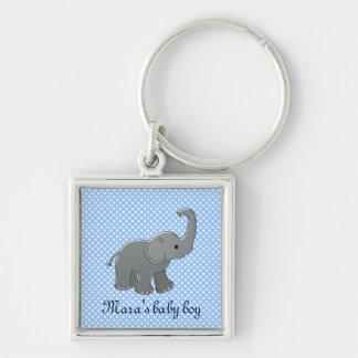 elefante azul de la fiesta de bienvenida al bebé llavero cuadrado plateado