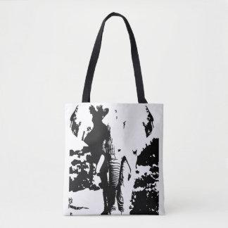 Elefante blanco y negro de la impresión del bolso