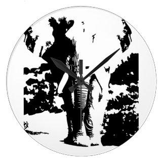 Elefante blanco y negro de la impresión del reloj