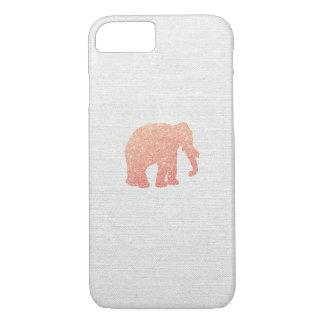Elefante color de rosa del brillo del oro funda para iPhone 8/7