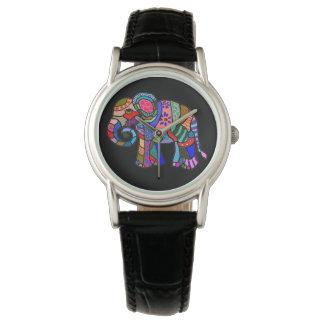 Elefante colorido del arte popular del estilo reloj