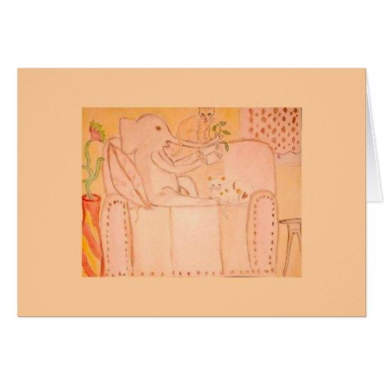 elefante con los gatos tarjeta pequeña