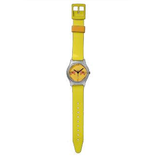 Elefante de la alheña (naranja/rojo) reloj de pulsera