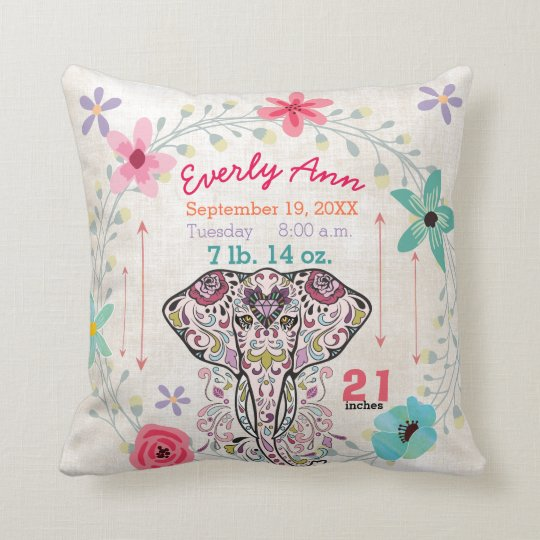 Elefante de la criatura de la selva de la niña del cojín decorativo