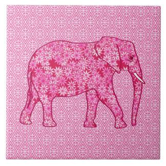 Elefante de la flor - rosa del fucsia azulejo cuadrado grande