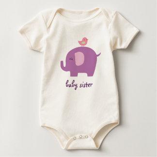 Elefante de la hermana del bebé body para bebé