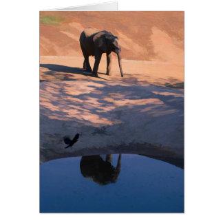 Elefante de la reflexión en tarjeta de