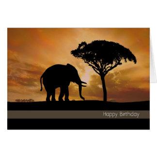 Elefante de la silueta con la tarjeta de