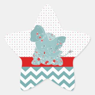 Elefante de moda adorable lindo del bebé de las pegatina en forma de estrella