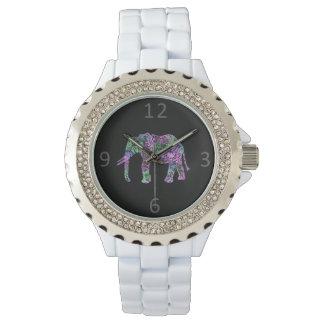 elefante de neón floral tribal colorido reloj de pulsera