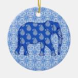 Elefante de Paisley - azul y blanco de cobalto Ornato