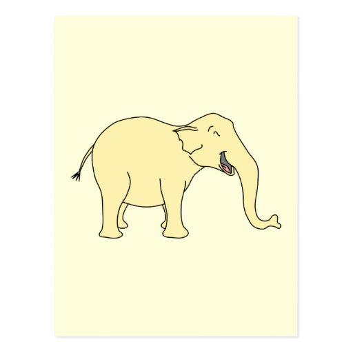 Elefante de risa. Amarillo Postal