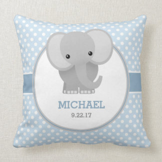 Elefante del bebé (azul) cojín decorativo