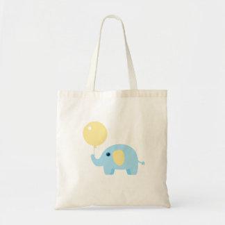 elefante del bebé azul con el globo bolso de tela