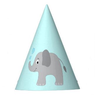 Elefante del bebé que sopla corazones azules gorro de fiesta