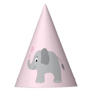 Elefante del bebé que sopla corazones rosados gorro de fiesta