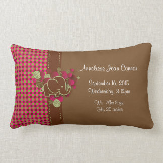 Elefante del bebé - rosa oscuro, Brown y tela Cojín Lumbar