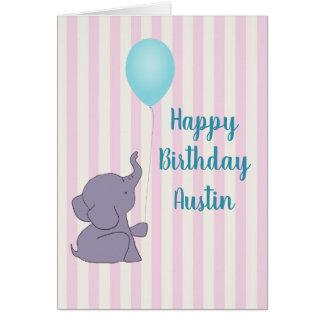 Elefante del bebé y tarjeta de felicitación azul