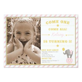 Elefante del circo del vintage - 5to cumpleaños invitación 12,7 x 17,8 cm