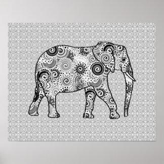 Elefante del remolino del fractal - gris, blanco y póster