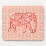 Elefante del remolino del fractal - naranja alfombrillas de ratones