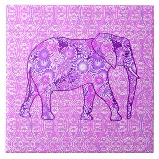 Elefante del remolino del fractal - púrpura y azulejo cuadrado grande