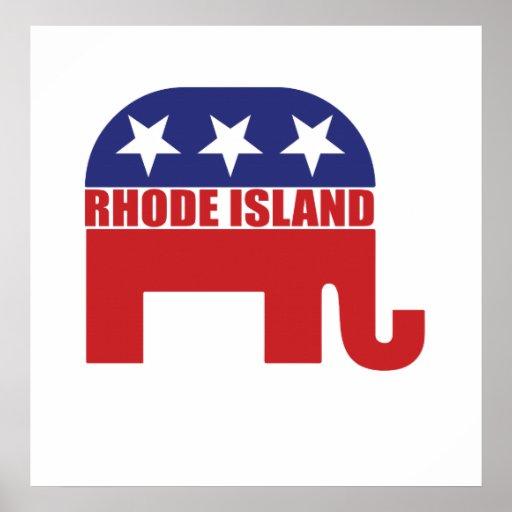 Elefante del republicano de Rhode Island Poster