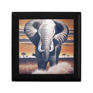 Elefante del safari caja de recuerdo