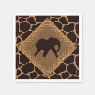 Elefante del tema del safari sobre estampado de servilletas desechables