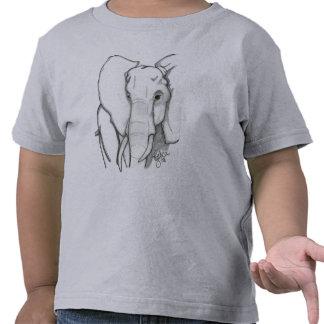 Elefante dibujado mano camisetas