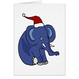 Elefante divertido en arte del navidad del gorra d tarjeta de felicitación