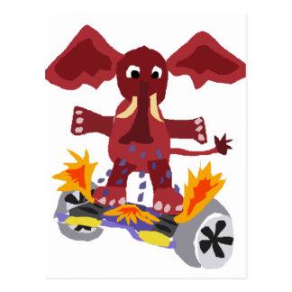 Elefante divertido en el dibujo animado de postal