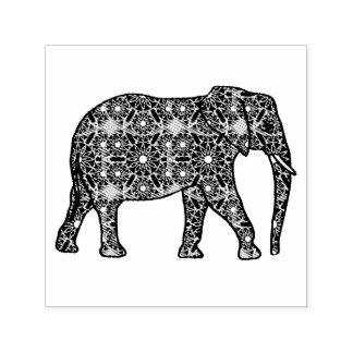 Elefante embellecido flor de la mandala sello automático