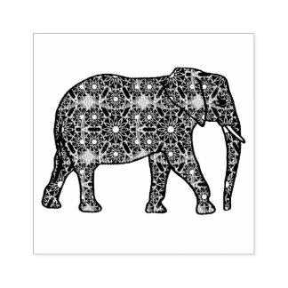 Elefante embellecido flor de la mandala sello de caucho