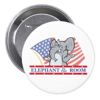 Elefante en el cuarto político chapa redonda 7 cm