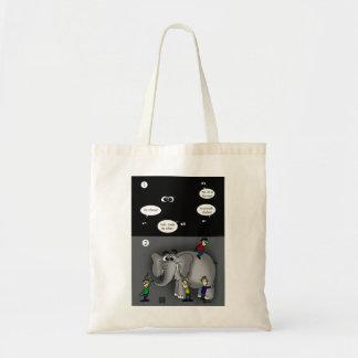 Elefante en la bolsa de asas oscura