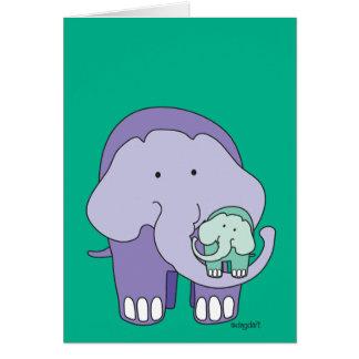 Elefante en púrpura tarjeta de felicitación