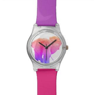 Elefante enrrollado colorido reloj de pulsera