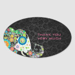Elefante floral retro colorido y damascos negros pegatinas ovaladas