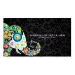 Elefante floral retro colorido y damascos negros plantillas de tarjeta de negocio