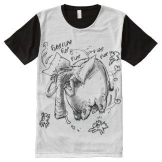 elefante gordo que vuela camiseta con estampado integral