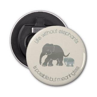Elefante gris con lema divertido inspirado del abrebotellas
