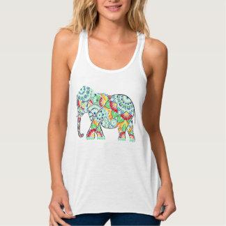 Elefante invertido coloreado camiseta con tirantes