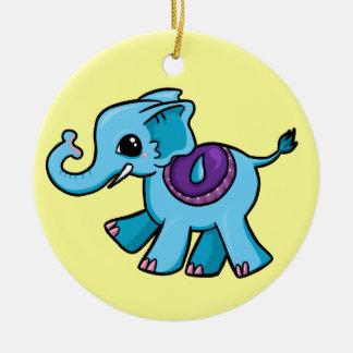 Elefante lindo adorno navideño redondo de cerámica