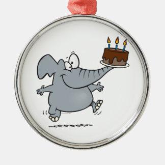 elefante lindo con la torta de cumpleaños del choc adornos de navidad