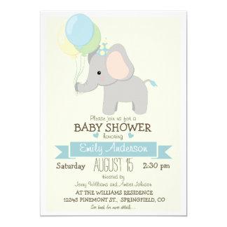 Elefante lindo del bebé, fiesta de bienvenida al invitación 12,7 x 17,8 cm