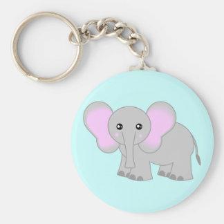 Elefante lindo del bebé llavero redondo tipo chapa