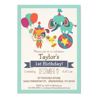 Elefante lindo del circo, fiesta del cumpleaños invitación 12,7 x 17,8 cm