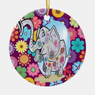 Elefante lindo del Hippie con las flores coloridas Ornaments Para Arbol De Navidad
