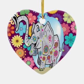 Elefante lindo del Hippie con las flores coloridas Ornatos